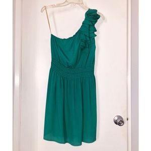FOREVER 21 Emerald Green One Shoulder Dress Sz M